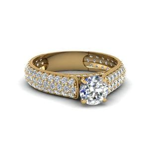 Round Cut Milgrain Multi Row Pave Diamond Engagement Ring In 14K Yellow Gold