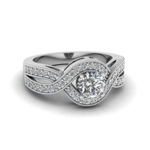 Round Cut Milgrain Pave Diamond Split Shank Engagement Ring In 18K White Gold