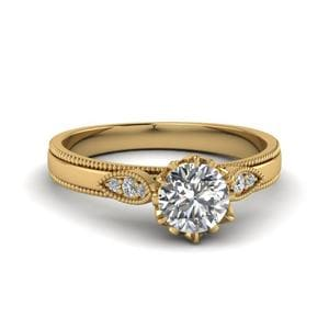Round Cut Milgrain Simple Diamond Enaggement Ring In 14K Yellow Gold