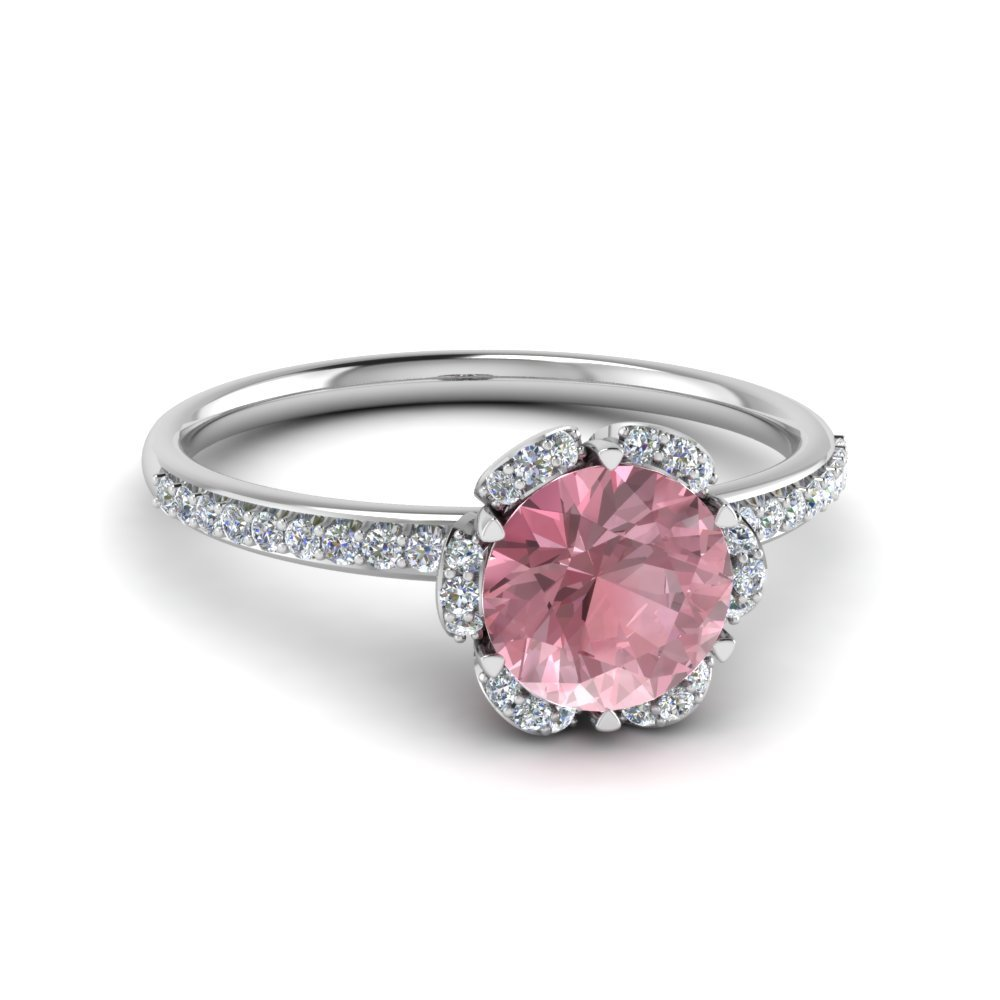 Halo Morganite Engagement Ring