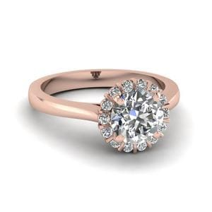 Floating Floral Halo Diamond Engagement Ring In 18K Rose Gold