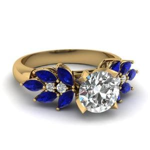 Round Cut Nature Inspired Marquise Diamond Ring With Blue Sapphire In 14K Yellow Gold