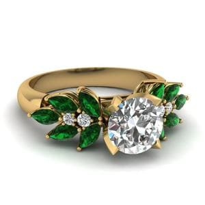 Round Cut Nature Inspired Marquise Diamond Ring With Emerald In 18K Yellow Gold