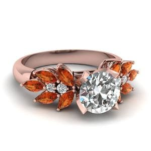 Round Cut Nature Inspired Marquise Diamond Ring With Orange Sapphire In 14K Rose Gold