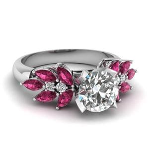 Round Cut Nature Inspired Marquise Diamond Ring With Pink Sapphire In 14K White Gold