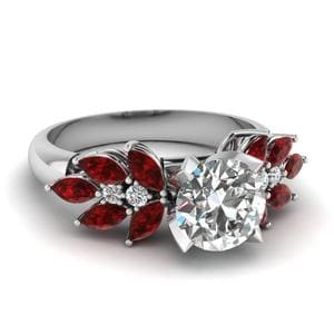 Round Cut Nature Inspired Marquise Diamond Ring With Ruby In 18K White Gold
