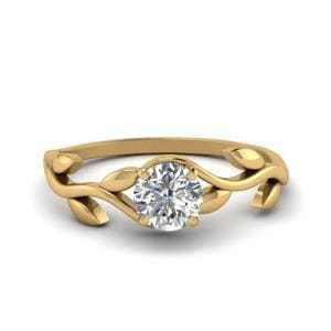 Nature Inspired Round Solitaire Ring