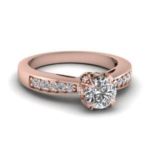 Round Cut Pave Accent Crown Studded Prong Diamond Engagement Ring In 14K Rose Gold