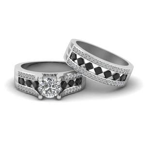 White Gold Black Diamond Ring Set