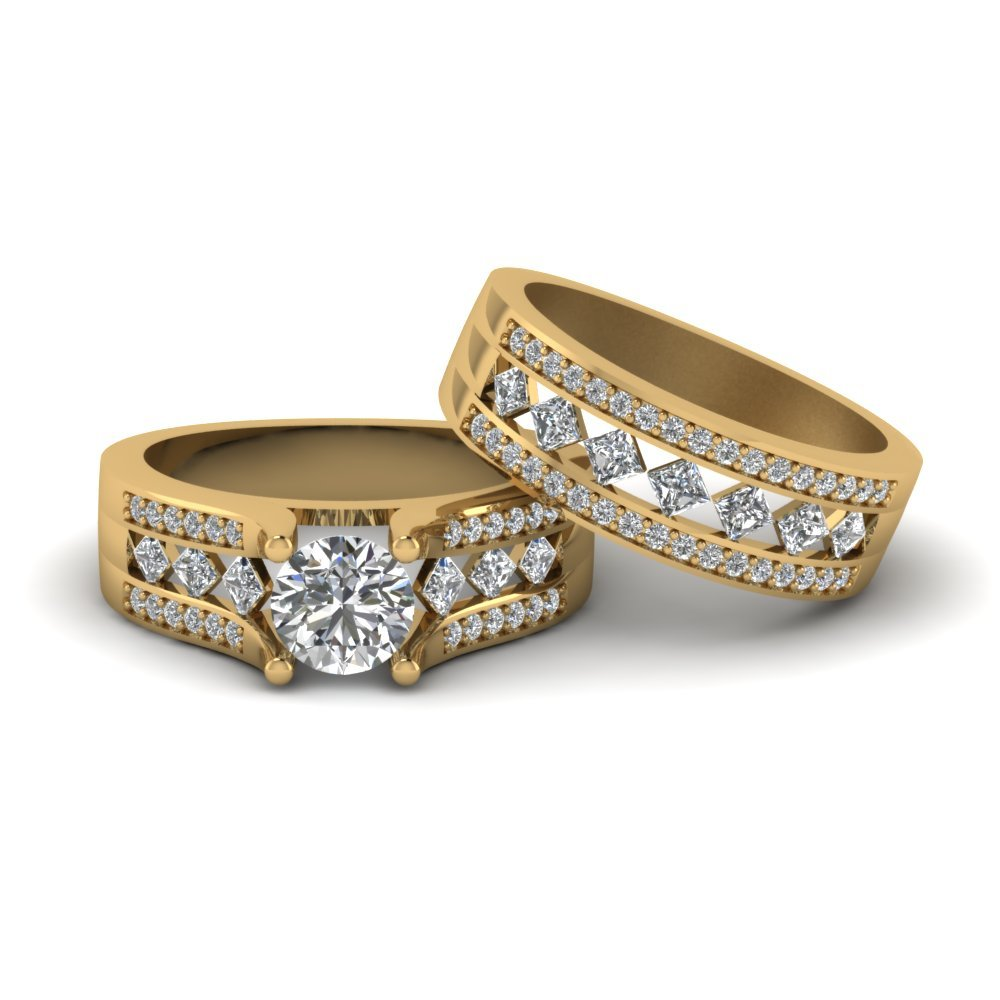 Pave And Kite Set Diamond Bridal Set