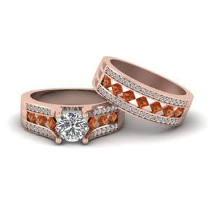 Diamond Bridal Set With Orange Sapphire