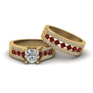 Kite Ruby Round Diamond Bridal Set