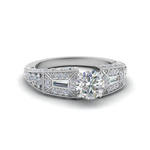 Round Cut Victorian Vintage Style Diamond Engagement Ring In 14K White Gold