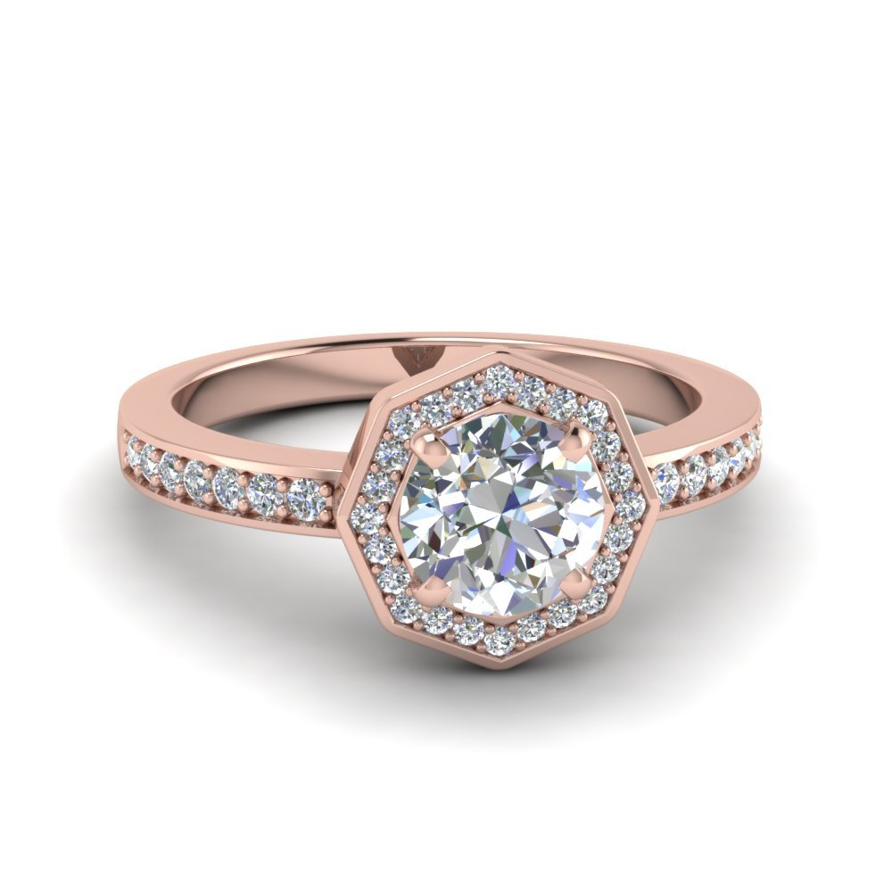 Round Cut Pave Diamond Halo Engagement Ring In 14K Rose Gold