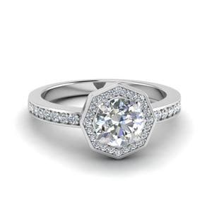 Round Cut Pave Diamond Halo Engagement Ring In 14K White Gold