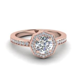 Round Cut Pave Diamond Halo Engagement Ring In 18K Rose Gold