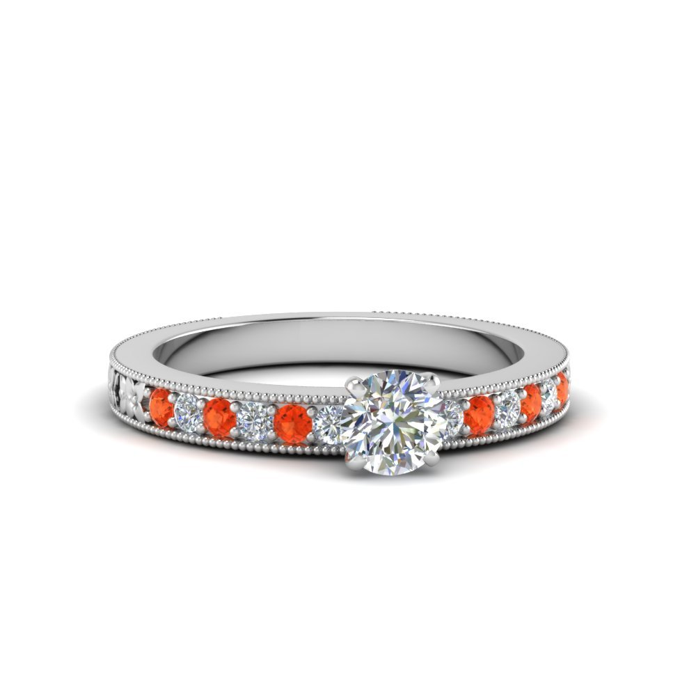 Orange Topaz Milgrain Ring