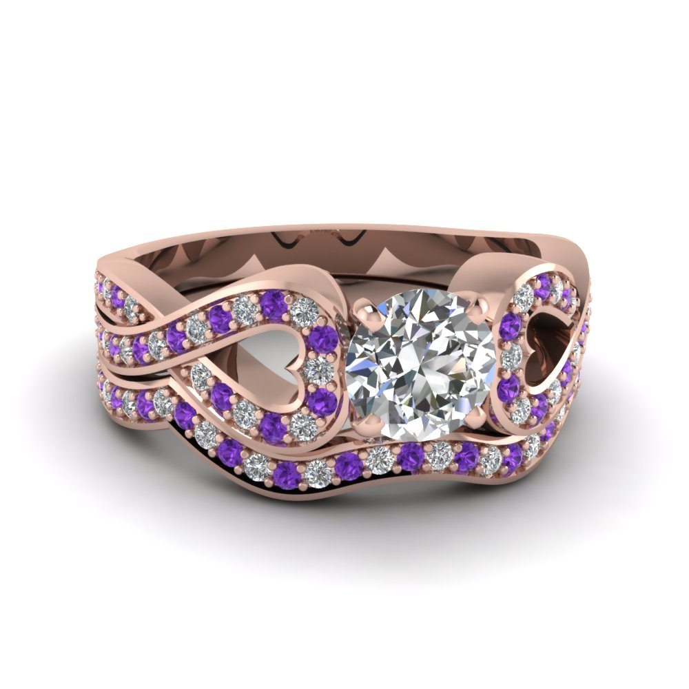 Entwined Round Diamond Wedding Ring Set With Purple Topaz In 14K Rose Gold