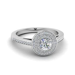 Round Cut Pave Double Halo Diamond Engagement Ring In 14K White Gold