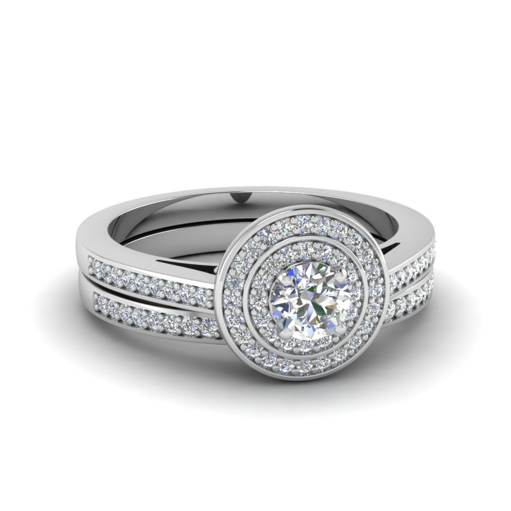 Pave Double Halo Diamond Bridal Set