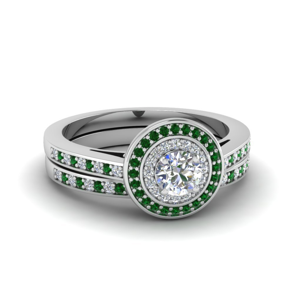 Emerald Double Halo Wedding Set