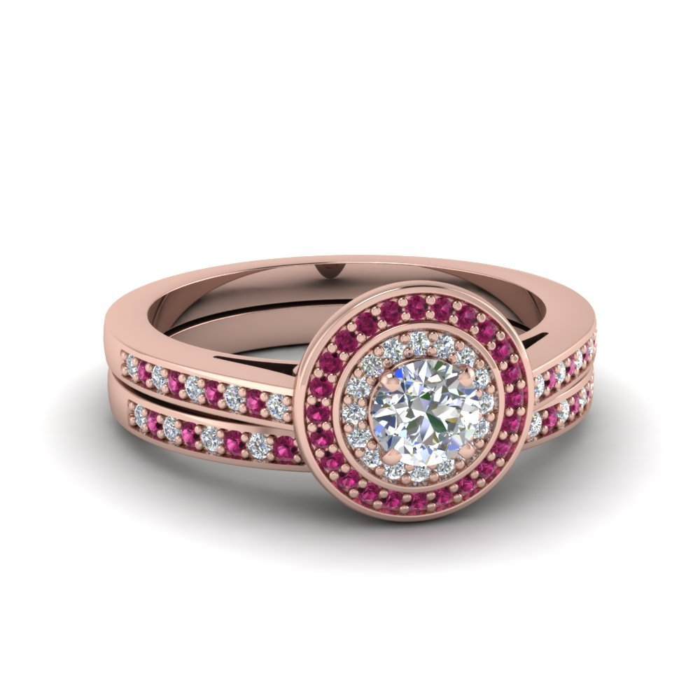 Double Halo Pink Sapphire Wedding Set