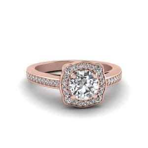 Round Cut Pave Halo Diamond Engagement Ring In 14K Rose Gold