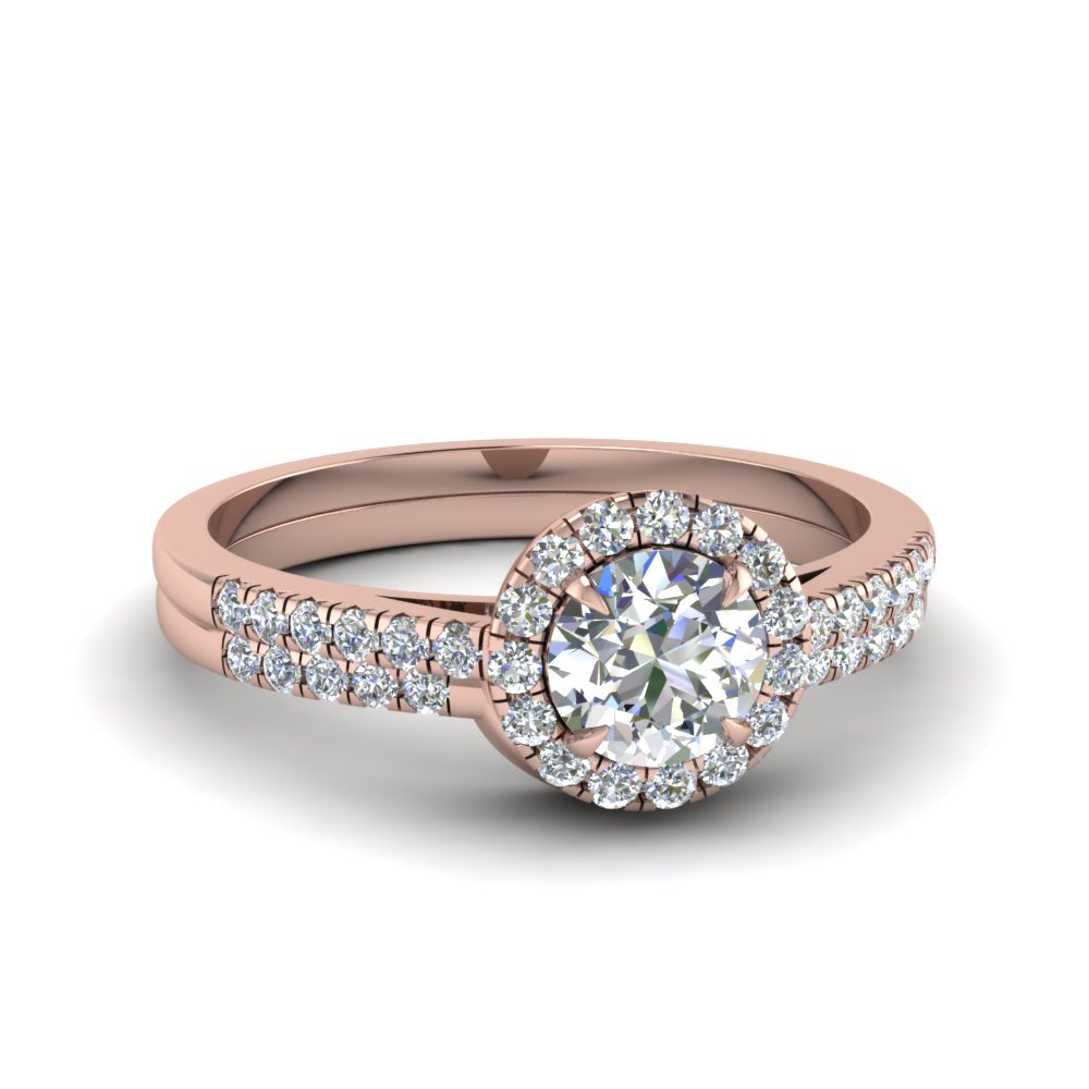 Halo Diamond Ring With Curved Band