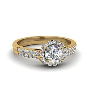 Pave Halo Diamond Ring With Curved Band