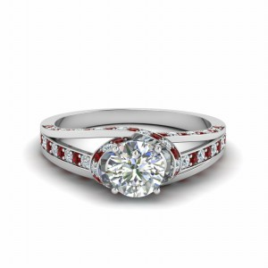 Cross Halo Ruby Ring