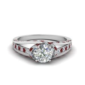Platinum Criss Cross Halo Ruby Ring