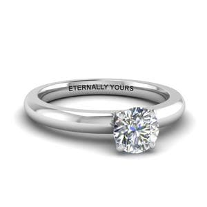 Classic Round Diamond Solitaire Engagement Ring In 14K White Gold