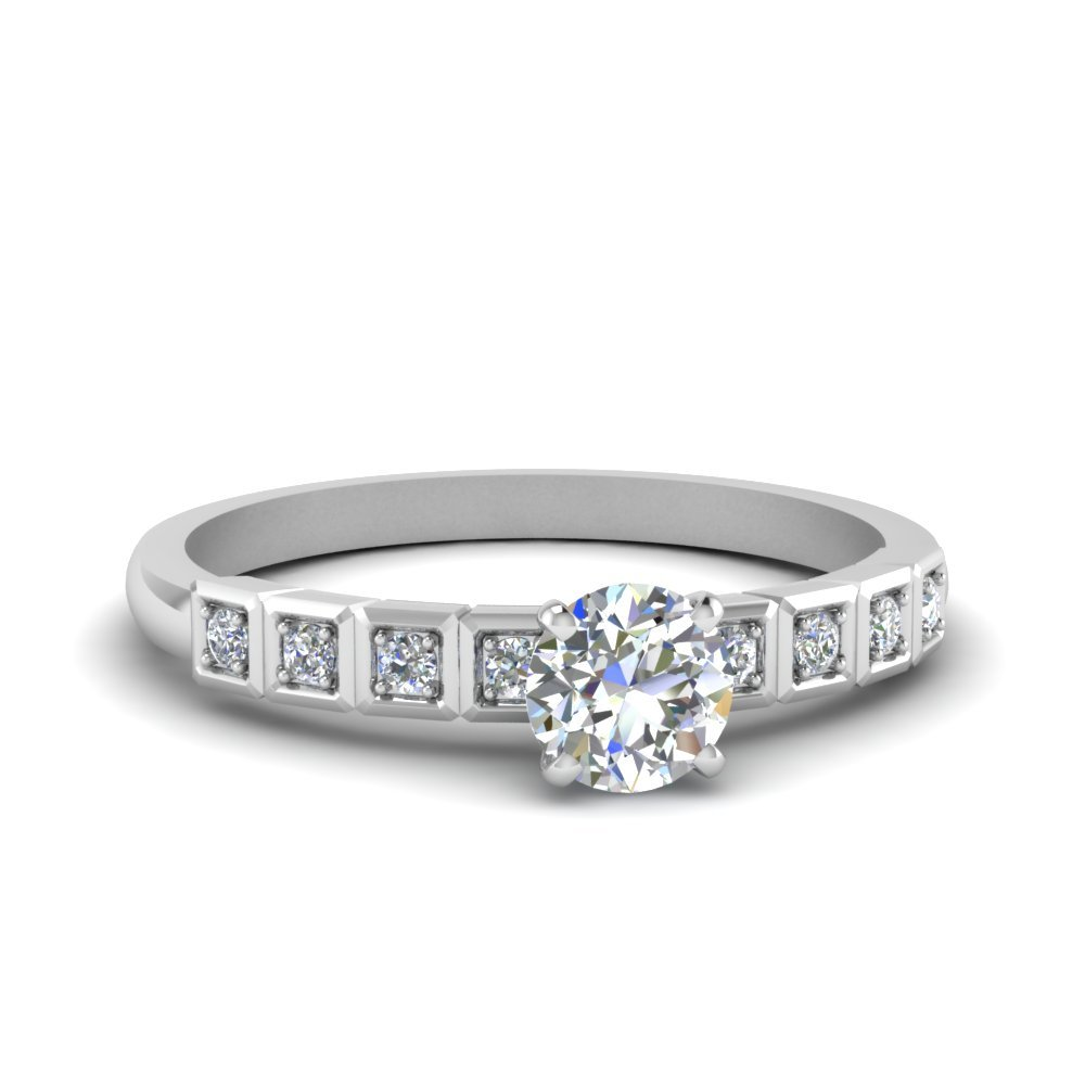 Round Cut Petite Block Design Diamond Engagement Ring In 14K White Gold