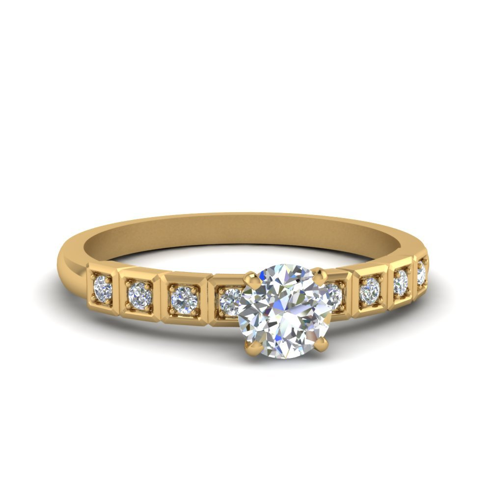 Petite Block Design Diamond Ring
