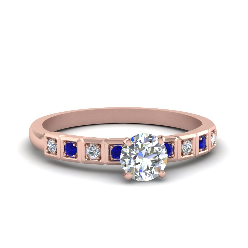 Round Cut Petite Block Design Diamond Engagement Ring With Blue Sapphire In 14K Rose Gold