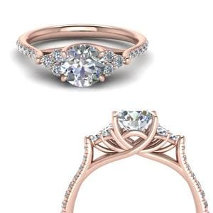 Round Cut Petite Cathedral Diamond Engagement Ring In 14K Rose Gold