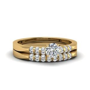 Round Cut Petite Channel Diamond Wedding Ring Set In 14K Yellow Gold