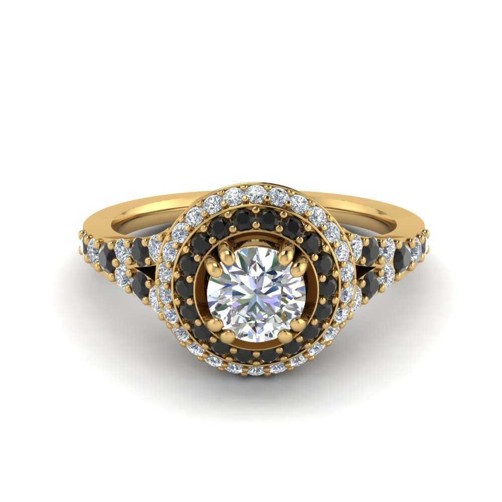 Petite Double Halo Engagement Ring With Black Diamond In 18K Yellow Gold