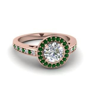 Emerald Halo Cathedral Ring
