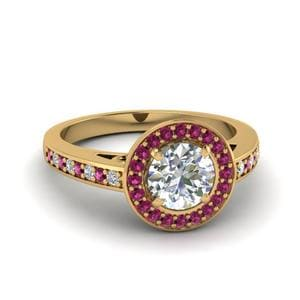 Pink Sapphire Halo Pave Ring