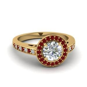 Halo Pave Ring With Ruby