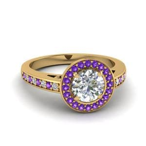 Purple Topaz Halo Pave Ring