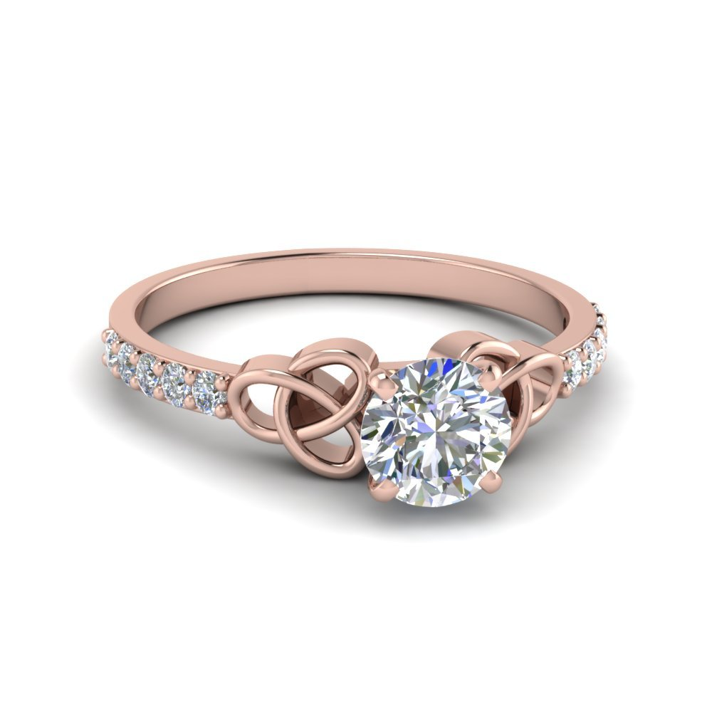 Petite Celtic Round Cut Diamond Engagement Ring In 18K Rose Gold