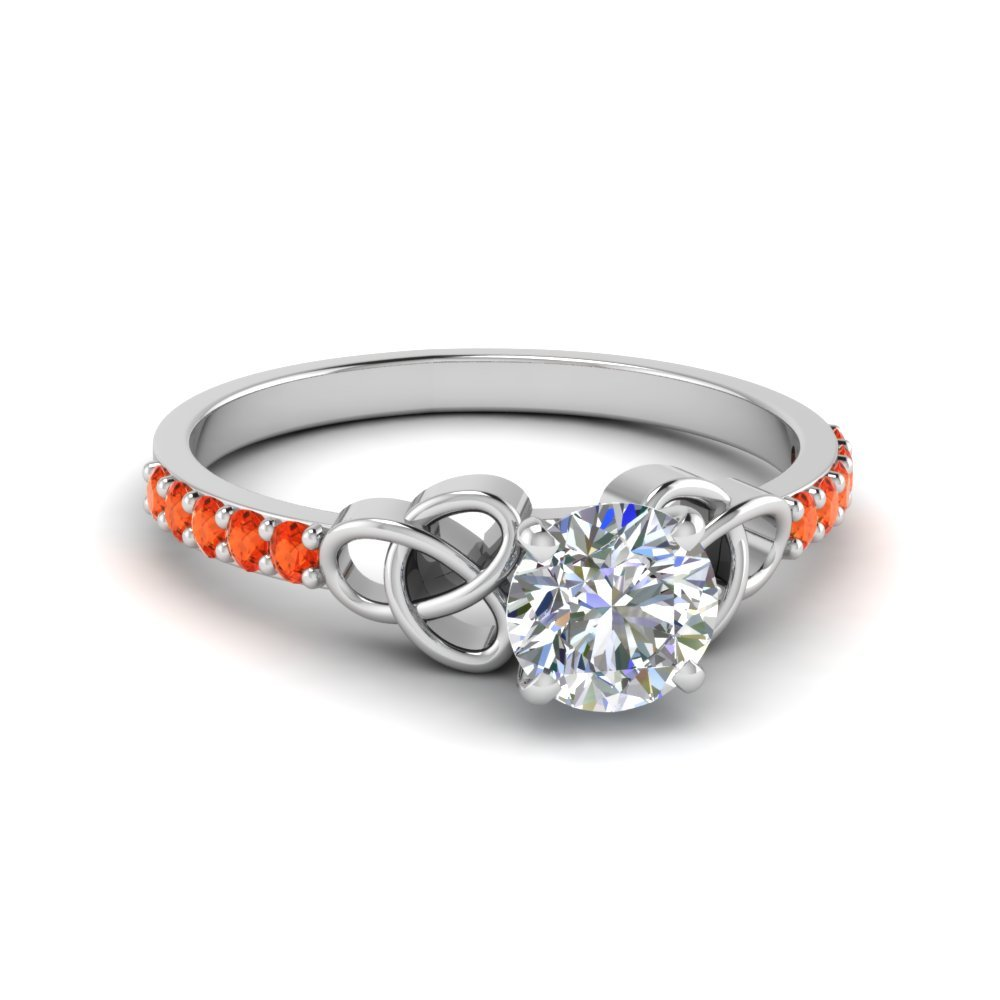 Orange Topaz Round Cut Celtic Ring