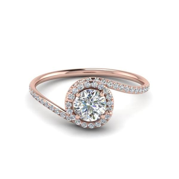 Round Cut Petite Swirl Halo Diamond Engagement Ring In 14K Rose Gold