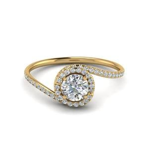 Matching Petite Swirl Halo Diamond Ring