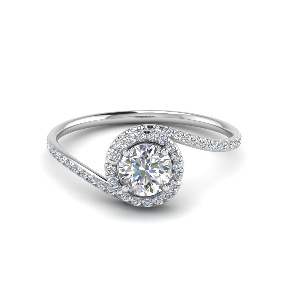 Round Cut Petite Swirl Halo Diamond Engagement Ring In 18K White Gold