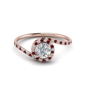 Twisted Ruby Halo Ring