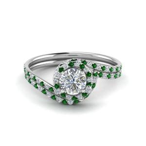 Swirl Halo Emerald Wedding Set