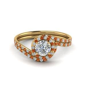 Twisted Orange Sapphire Ring Set